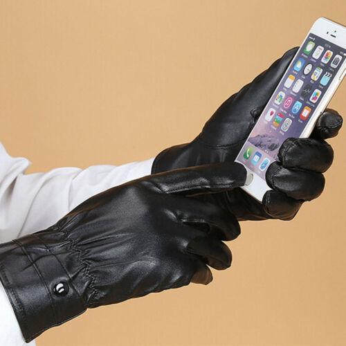 Black Women's And Men's Mittens Touch Screen Gloves Winter PU Leather Gloves