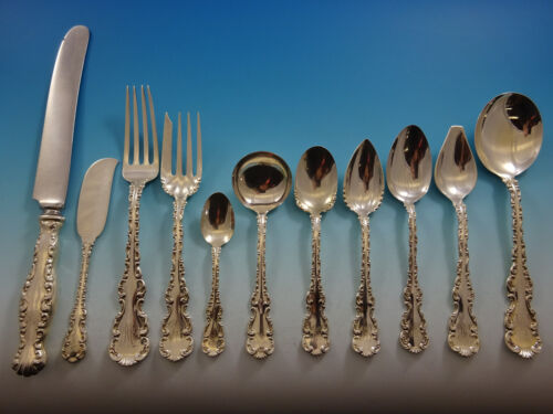 Louis XV by Whiting Sterling Silver Flatware Set For 8 Service 90 Pieces