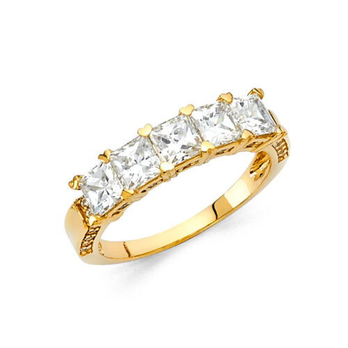 2.0 Ct Princess Cut Diamond Engagement Ring 14k Solid Yellow Gold 5-Stone Bridal