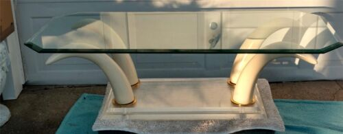 Mid Century modern COFFEE TABLE FAUX TUSKS, STACKED LUCITE BASE/GLASS TOP AWESOM
