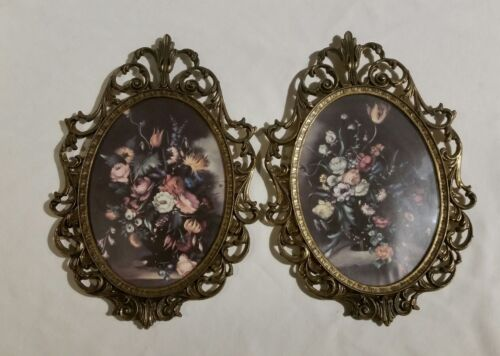 VINTAGE/ANTIQUE ORNATE BRASS OVAL FRAME, FLORAL, CONVEX GLASS - MADE IN ITALY