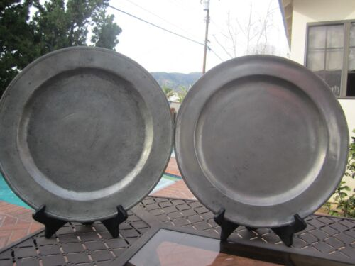 PAIR-ANTIQUE AMERICAN PEWTER 13-1/2  IN CHARGERS NATHANIEL AUSTIN- CIRCA 1763