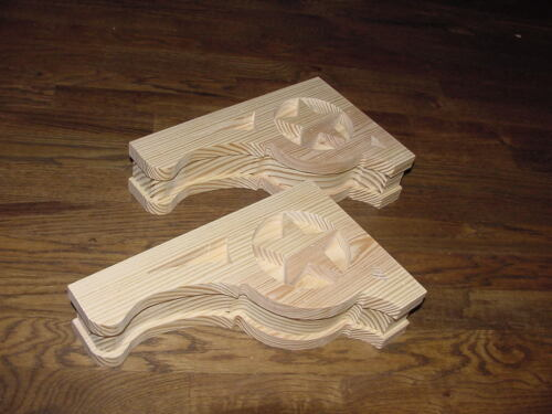 """PAIR of Mission Style """"Lone Star"""" Wood Corbels.. 7-1/2 x 12"""