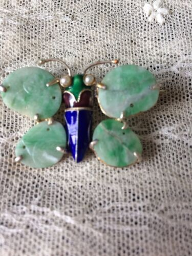 Antique Chinese Export Apple Green Jade Enamel Butterfly Brooch Pin 老玉別針