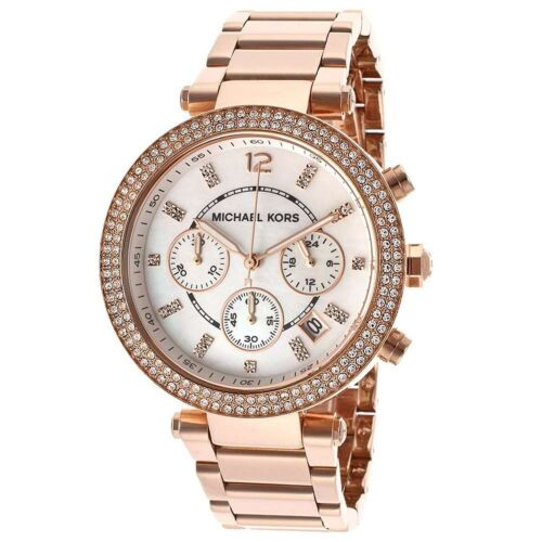 NEW Authentic Michael Kors Parker Chronograph Rose Gold-Tone Ladies Watch MK5491