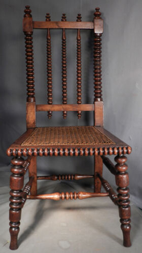 Antique German Sausage Turned Walnut Childs Chair Jenny Linde 1830 Photographers