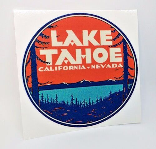 Lake Tahoe California Vintage Style Travel Decal / Vinyl Sticker, Luggage Label