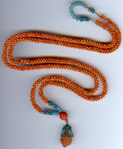 ANTIQUE CHINESE LONG CORAL & BLUE BEADS KINGFISHER BUTTERFLY NECKLACE - AS FOUND
