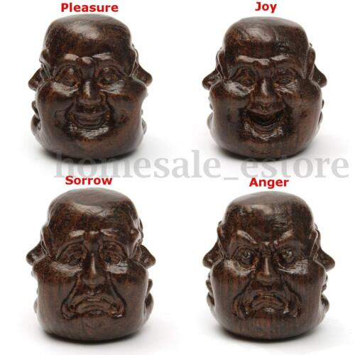 Agilawood Hand-Carved Four Sided Buddha Head Statue Of Pleasure Anger Sorrow Joy