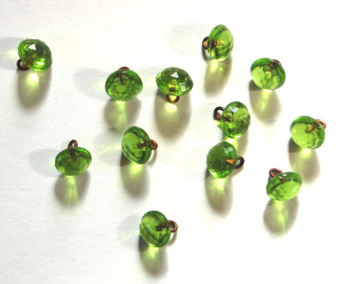 VINTAGE TINY APPLE GREEN FACETED GLASS DOLL BUTTON BUTTONS BEADS • 7mm