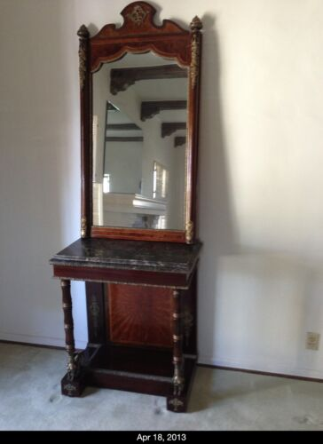 ANTIQUE CONSOLE &  MIRROR