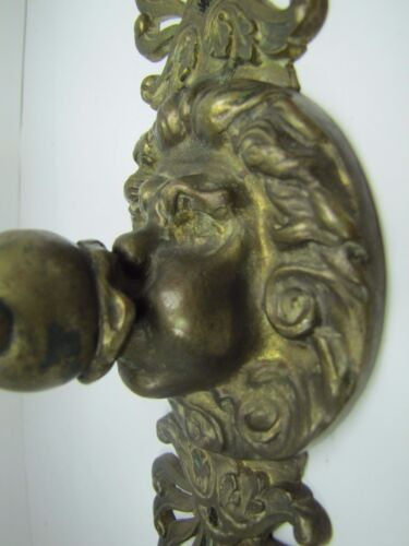 Antique Northwind Face w Arrows in Mouth Figural Candlestick Holder bronze brass