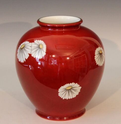 Vintage X Large Noritake Japanese Porcelain Chinese Red Chrysanthemum Vase 9.5""