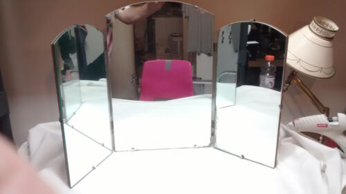 """Vintage 18"""" Tall Tri-fold Vanity Mirror with Arched Tops"""