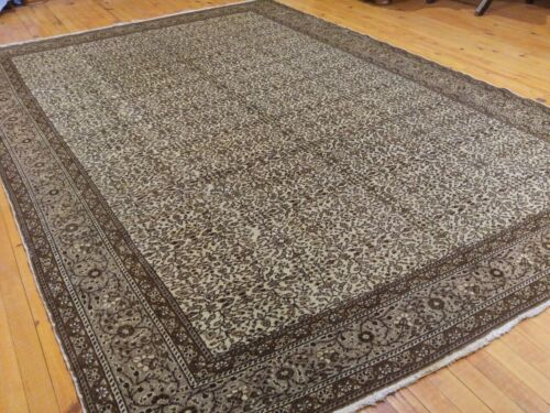 Authentic Ca1900-1939s Antique Natural Wool Pile  Ottoman Hereke Rug 7x10ft