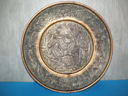 Handmade antique Persian Plate/Tray of Middle East, engraved early 20th centur