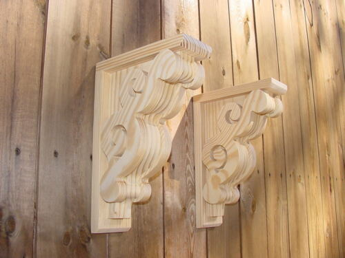 PAIR of Victorian Design Wood Corbels Shelf Mantle Brackets  8 x 11-1/2 (#6108)