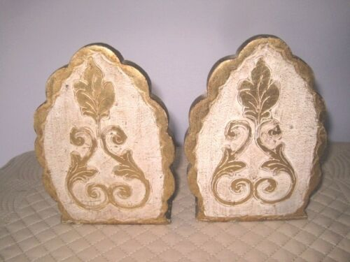 Lovely Scalloped Shaped Vintage Italian Florentine Gold Gilt Tole Wood Bookends