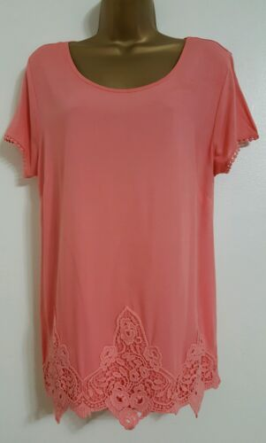 NEW M&S 10-22 Coral Pink Crochet Lace Embroidered Summer Holiday Top Blouse Tee