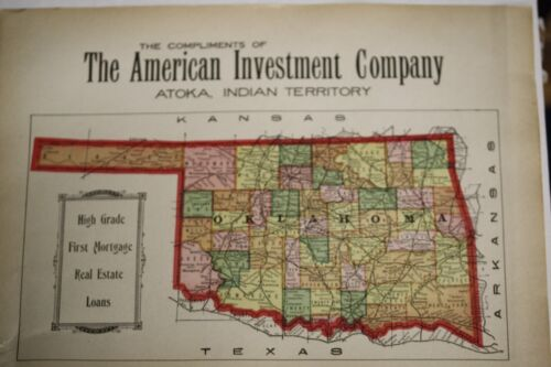 Original 1920's Antique Oklahoma Territory Map INDIAN NATIONS Native American