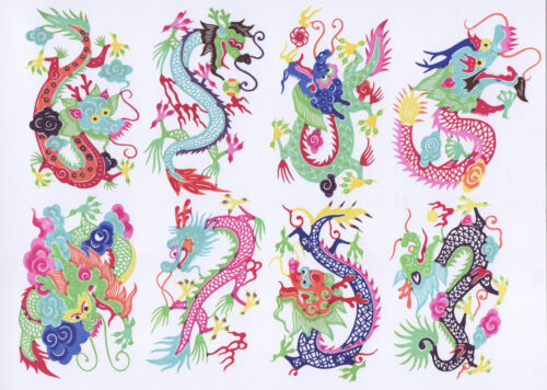 Chinese Paper Cuts Dragon Set 8 colorful small single pieces CHEN