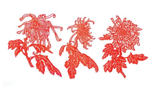 Chinese Paper Cuts Chrysanthemum Flower Set Red Color 6 small pieces