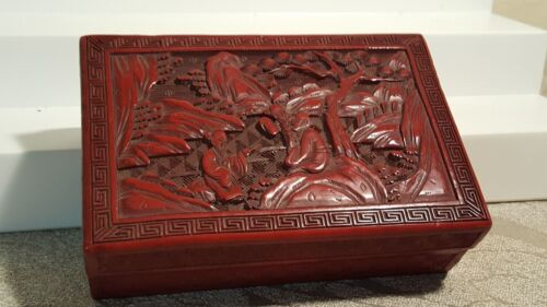 """Carved Chinese red cinnabar lacquer box 5.5"""" x 4"""" x 2"""""""