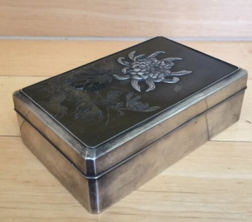 Japanese Meiji Silver, Mixed Metals and Wood Box