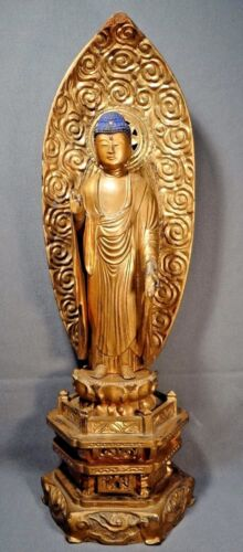 19th C. Early Meiji Period Japanese Wooden Lacquer and Gilt Buddha Amida Statue