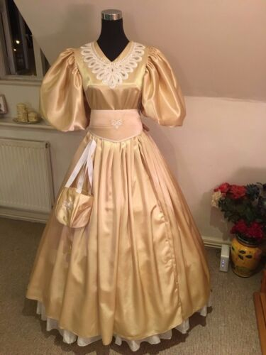 Edwardian/Victorian 19th Century Ball Gown Custom made in Gold PLEASE READ!