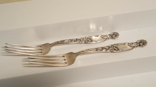 Gorham Whiting set of 2 Heraldic sterling silver dinner Forks mono & dated 1891