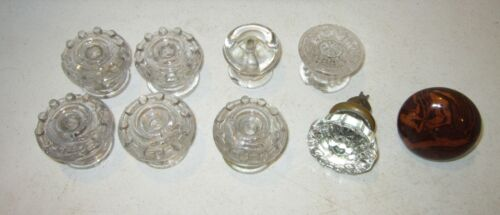 Antique lot of 7 clear glass drawer pulls+1 glass & 1 brown china door knob GC