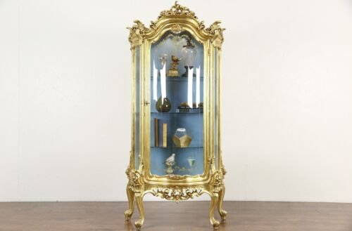 Gold Leaf Baroque Curved Glass Vintage Curio China Display Cabinet, Signed Italy
