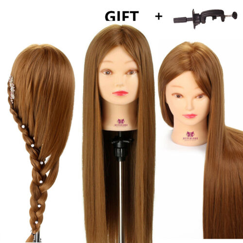 """Doll 26"""" 30% Hairdressing Hair Training stylists head Mannequin Model + Clamp"""