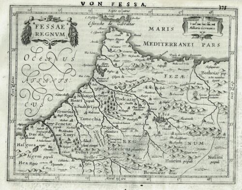 1648 Fine Map of MOROCCO - Africa by MERCATOR HONDIUS - Original nice condition