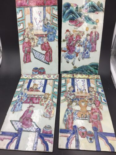 Four Similar Chinese Porcelain Plaques Qing Dynasty Tongzhi Period