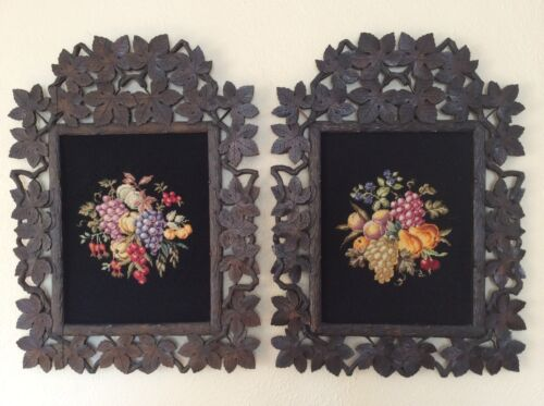 PAIR OF ANTIQUE WOODEN BLACK FOREST FRAMES WITH OLD NEEDLE POINT EAST GERMANY