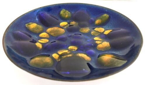 Enamel on Copper Plate, Blue and Gold, Hand Signed Win Ng, San Francisco