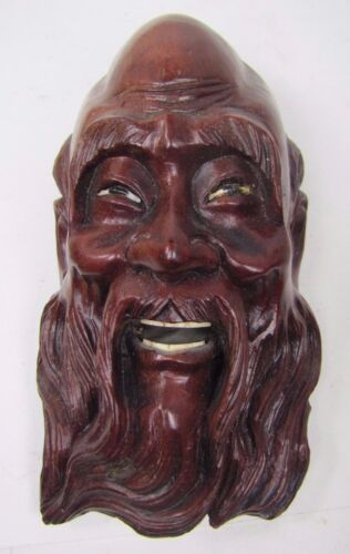 Old Carved Asian Dark Wood Man Exquisite Detailing Eyes Teeth 3A