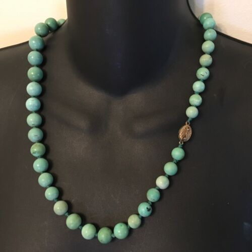 """Chinese Natural Turquoise Carved Carving Bead Necklace Silver Knot 23.5"""""""