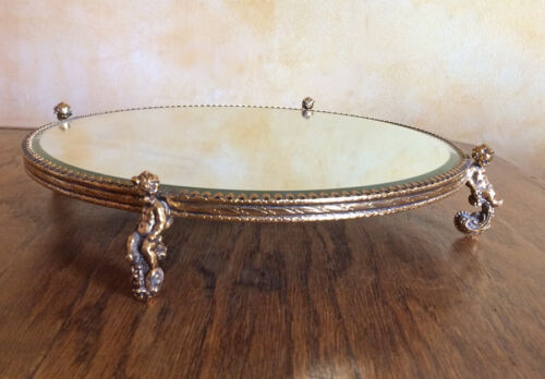Antique Plateau Bezel MIRROR Plate Gold Plated CHERUBS Etched Vintage Table Top