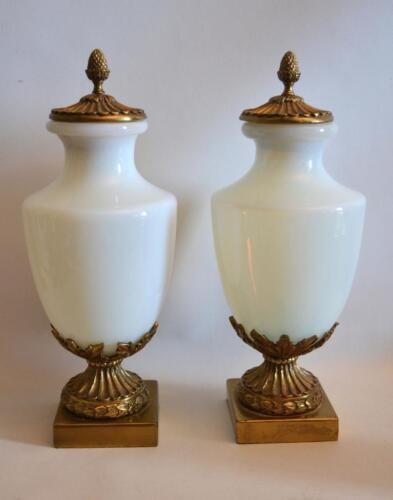 Pair of 1950s French Opaline and Bronze Urns