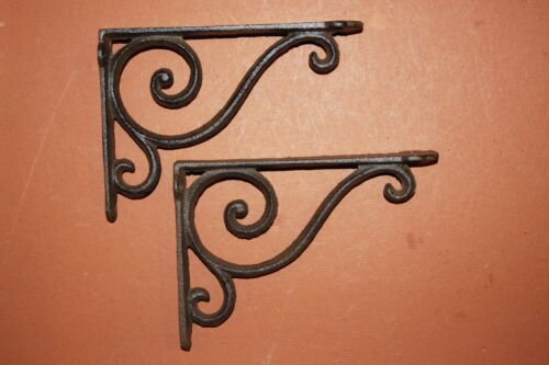 "(2)pcs. SMALL ELEGANT CAST IRON SHELF BRACKETS,6 5/8"" SHELF BRACKETS,CORBEL B-5"