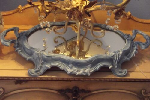 Antique French Ornate Footed Ormolu Vanity Mirror Plateau-Signed
