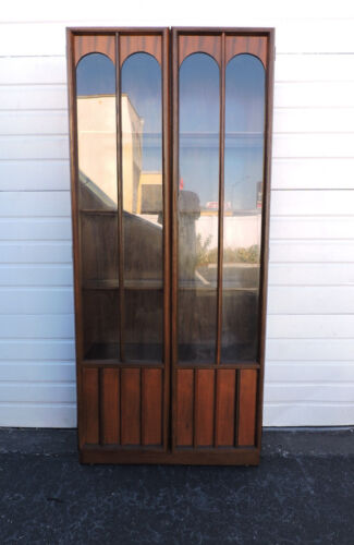 Mid Century Modern Walnut Glass Front China Display Cabinet Bookcase  7774