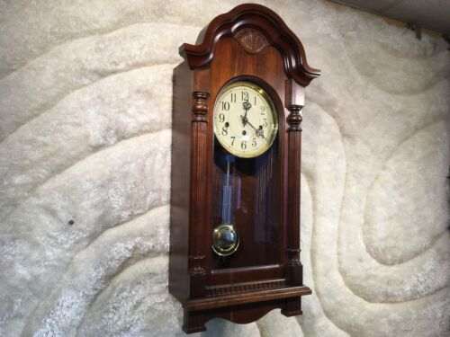 LARGE ANTIQUE USA/GERMANY SLIGH WESTERN CHIMIE ALARM WALL CLOCK W ANTIQUE WOOD