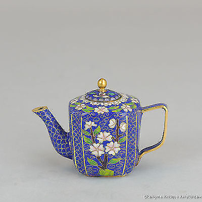 Antique / Vintage 20C Chinese Cloissonne Enamel Teapot Republic/ Proc Period