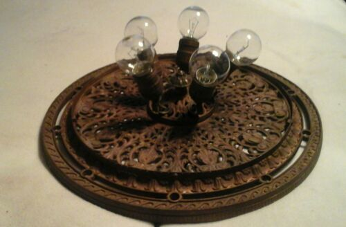 Antique ART DECO Vintage Cast Iron Filligree Ceiling 5 Socket Chandelier