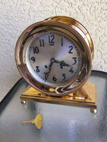 """Antique Chelsea Ship's Bell Mantel Clock Ca. 1916 Ball Base,6"""" Face, Refurbished"""