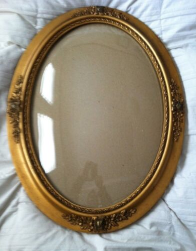 """Antique Picture Frame Oval Wood Bubble Dome Glass Frame Size: 16 3/4"""" x 23 1/4"""""""
